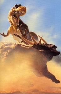 batalla entre un triceratops y un tyrannosaurus rex